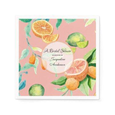 Tea Citrus Coral Orange Lemon Garden Paper Napkin