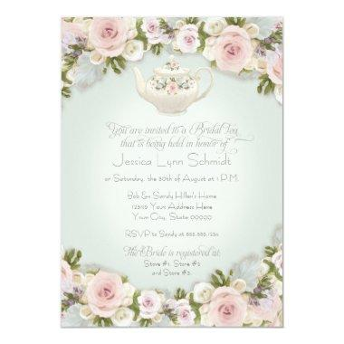 Bridal Shower Tea Party Blush Rose Succulent Leaf Invitations
