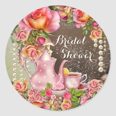 Bridal Shower Tea Party Bridal Shower Classic Round Sticker
