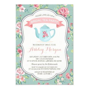 Bridal Shower Tea Party Elegant Vintage Floral Invitations