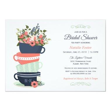 Bridal Shower Tea Party Invitations | Blue & Coral