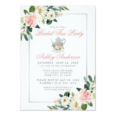 Bridal Shower Tea Party Pink Floral Invite P