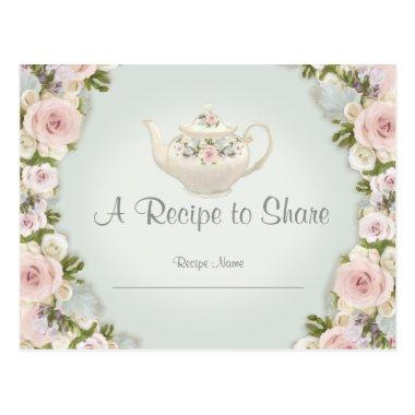 Bridal Shower Tea Party Recipe Rose Floral Mint PostInvitations