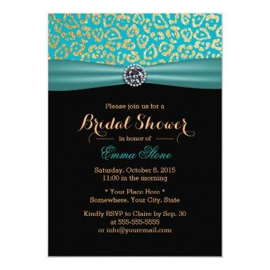 Bridal Shower Teal Ribbon Modern Leopard Print Invitations
