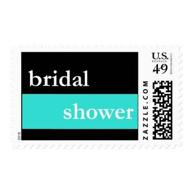 Bridal Shower (Teal Thick Stripe) Postage
