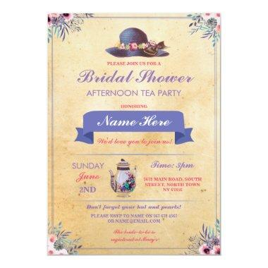 Bridal Shower Teapot Hat Afternoon Garden Party Invitations