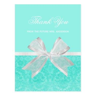 Bridal Shower Thank You Chic Aqua Damask White Bow PostInvitations
