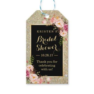 Thank You Gold Glitter Pink Flowers Gift Tags