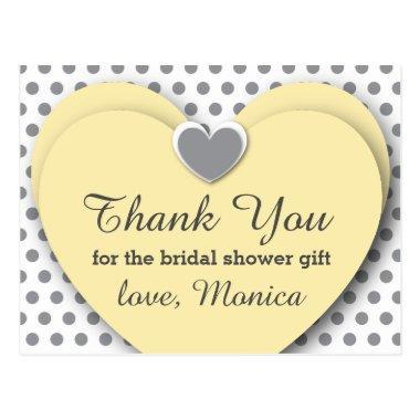 BRIDAL Shower Thank You Hearts Dots B8 YELLOW GRAY PostInvitations