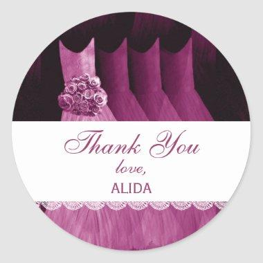 Bridal Shower Thank You RED WINE Gowns V19 Classic Round Sticker