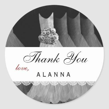 Bridal Shower Thank You Silver White Dresses V01 Classic Round Sticker