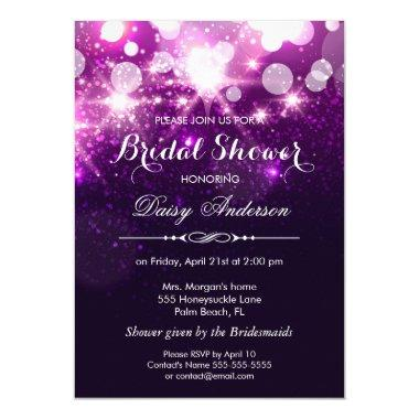 Bridal Shower - Trendy Purple Glitter Sparkles Invitations