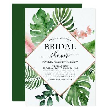 Bridal Shower Tropical Palm Watercolor Geometric Invitations