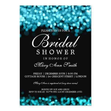 Bridal Shower Turquoise Lights Invitations