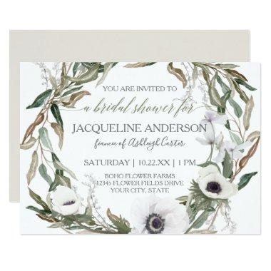 Watercolor Anemone Olive Leaf Wreath