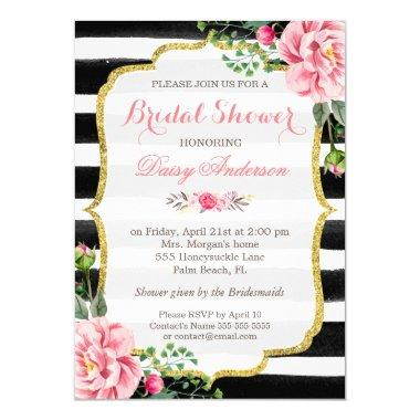 Bridal Shower Watercolor Floral Gold Glitter Decor Invitations