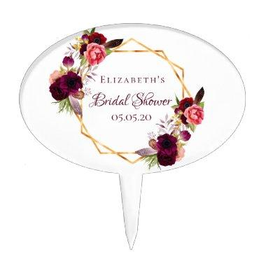 Bridal shower watercolored florals burgundy gold cake topper