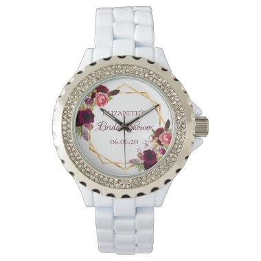 Bridal shower watercolored florals burgundy gold watch