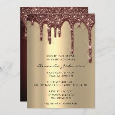 Bridal Shower Wedding Birthday Gold Brown Drips Invitations
