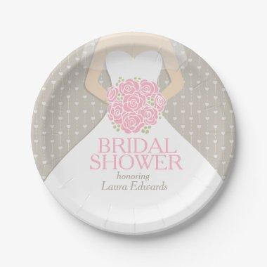 Bridal shower wedding dress custom paper plates
