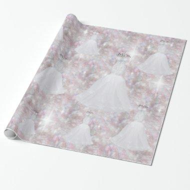 Wedding Dress Pastel Glitter Lights Wrapping Paper