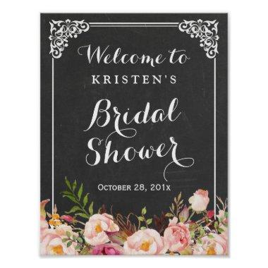 Welcome Sign Chalkboard Frame Flower