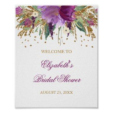Welcome Sign Floral Glitter Amethyst