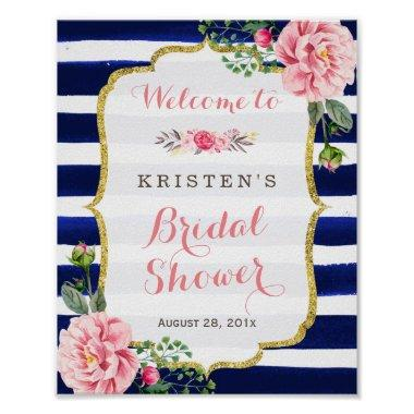 Welcome Sign Pink Floral Navy Stripe