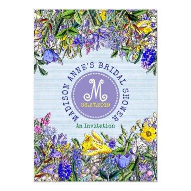 Wildflowers Monogram Vintage Floral