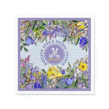 Wildflowers Monogram Vintage Floral Paper Napkin