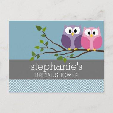 with Owl Couple on Branch Invitation Post