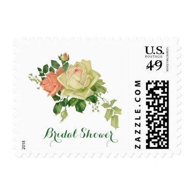 with White and Pink Roses Postage