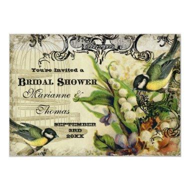 Bridal Shower, Yellow Song Bird Cage Swirl Floral Invitations