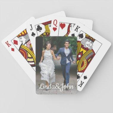 Bride and groom photo, custom playing Invitations