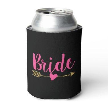 Bride|Black & Hot Pink Can Cooler