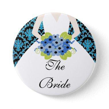 Bride Bridal Party Button / Pin Damask Royal Blue