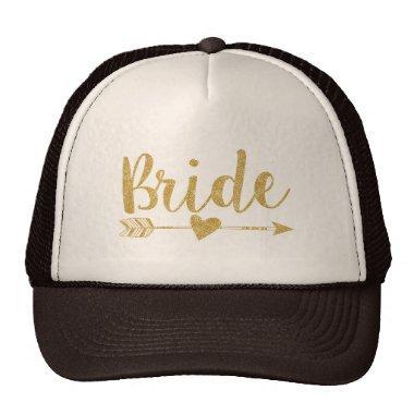 Bride|Bride Tribe|Golden Glitter-Print Trucker Hat