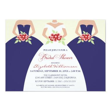 Bride & Bridesmaids Bridal Shower Invite (navy)