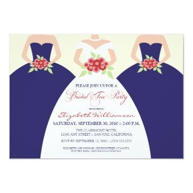Bride & Bridesmaids Bridal Tea Party (navy) Invitations