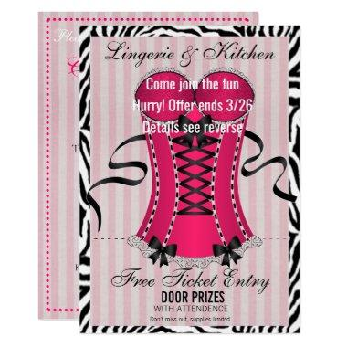BRIDE & Bridesmaids Lingerie Pink Shower Party Invitations