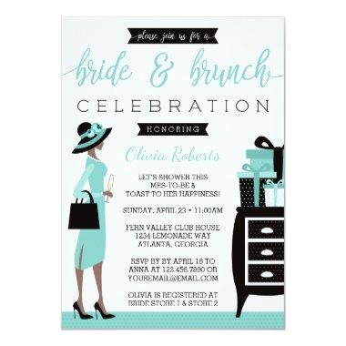 Bride & Bruch Shower Invitation, Blue, Black