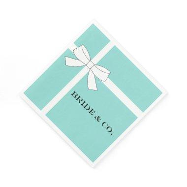 BRIDE & CO Blue And White Bow Luncheon Napkins