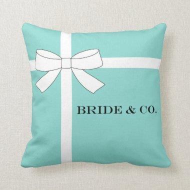 BRIDE & CO. Blue and White Bow Throw Pillow
