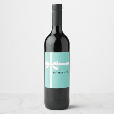 BRIDE & CO Blue And White Bow Wine Bottle Labels