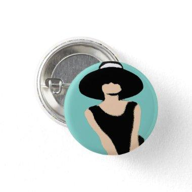 BRIDE & CO Lady And Hat Bridal Shower Party Favor Button
