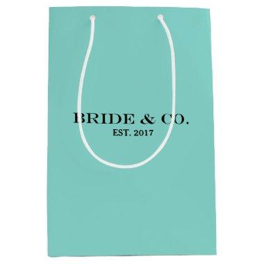BRIDE & CO Personalized Teal Blue Party Gift Bag