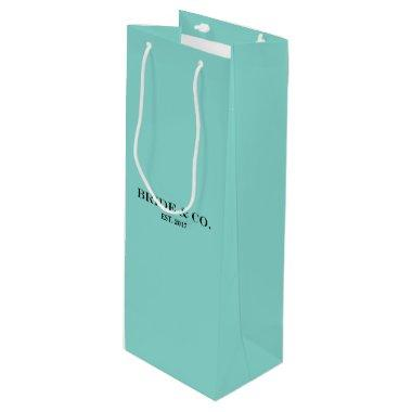 BRIDE CO Shower Teal Blue Personalize Party Favor Wine Gift Bag