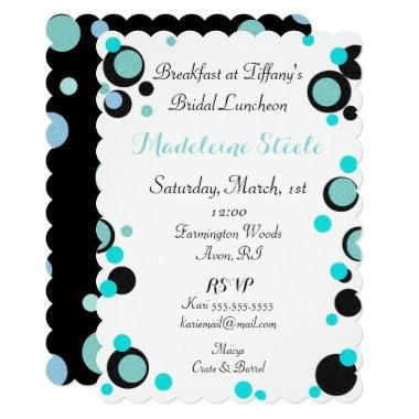 BRIDE & CO Teal Blue Black Polka Dot Party Shower Invitations