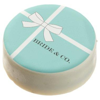 BRIDE & CO Teal Blue Bridal Reception Shower Party Chocolate Dipped Oreo