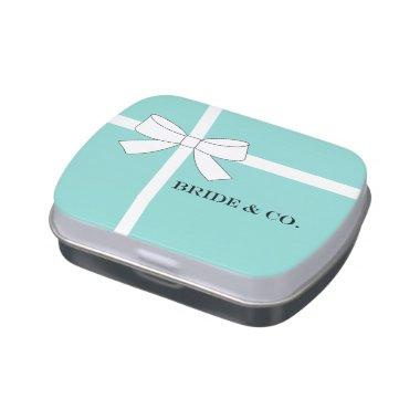 BRIDE & CO Teal Blue Bridal Shower Party Jelly Belly Candy Tin
